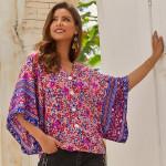 Vintage Floral Print V Neck Single Breasted Boho Shirts