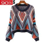 Cropped O-neck Lantern Sleeves Knitted Boho Bohemian Sweaters