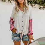 Casual V-Neck Single-Breasted Boho Sweaters
