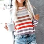 Casual Loose Thin Stripe Pullover Wool Boho Bohemian Sweaters