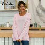 Fashion Twist Long Sleeve Knitwear Solid Slim Boho Sweaters