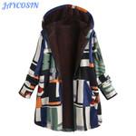 Warm Thick Hooded Fashion Print Long Sleeve Boho Coats