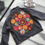Multi Floral Embroidered Denim Boho Jacket