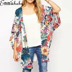 Casual Vintage Floral Beach Loose Shawl Boho Kimono