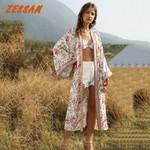 Vintage Floral Print Long Boho Kimono