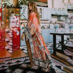 Vintage Print Floral Loose Long Boho Bohemian Kimonos