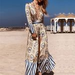 Vintage print Long Striped cover-ups Boho kimono