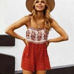 red floral print sleeveless straps Bohemian rompers