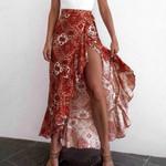 Sexy Split Long Floral Print High Waist Boho Bohemian Skirts