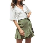 Sexy Ruffles Solid Short Bandage Lace Up Boho Bohemian Skirts