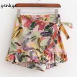 Multicolor Floral Print Wrap-Style High Waist Boho Bohemian Shorts
