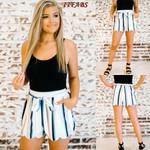 Casual High Waist Striped White Boho Bohemian Shorts
