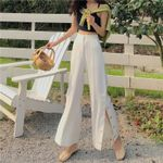 Sexy High Waist White Button Split Wide Boho Bohemian Pants