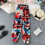 Flower Print Retro Chiffon Stretch Waist Boho Bohemian Pants