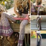Hippie High Waist Loose Wide Leg Flared Boho Bohemian Pants