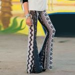 Stretch Bell Bottom Slim Printed Flared Boho Bohemian Pants