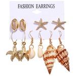 Fashion Gold Flowers Shells Boho Earrings