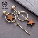 Wood Star Vintage Unusual Fashion Boho Earrings