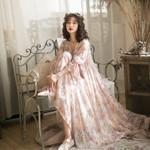 Vintage Elegant Slim Sweet Floral Print Casual Dresses
