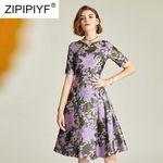 Fashion Jacquard O-Neck Half Sleeve Embroidery Elegant Dress