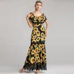 Vintage Sunflower Print Sleeveless Lace Maxi Dress