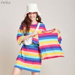 Fashion Stripe Rainbow Loose Casual Straight O-Neck T-shirt