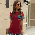 Striped Print Pure Color Patchwork Pocket Tshirts