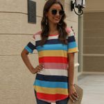 Print Rainbow Stripe Asymetrical Round Neck T-shirts