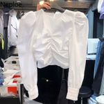 Solid O Neck Long Puff Sleeve Blouses