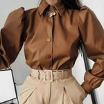 Fashion Office Lady Elegant Puff Long Sleeve Blouses