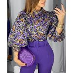 Fashion Vintage Floral Lantern Sleeve Blouses