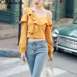 Ruffles Sexy One Shoulder Hollow Out Lace Blouses