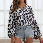 Sexy casual Leopard long-sleeved blouse