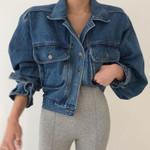 vintage three-dimensional pocket denim jacket