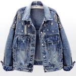 fashion heavy work diamond long-sleeved denim jacket