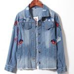 Floral Embroidery Cotton Long Denim Jacket