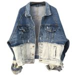 Bat sleeve fashion hole denim jacket