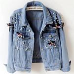 Vintage Casual Beading diamond Denim Jackets