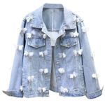 fashion butterfly embroidered flower long sleeve slim Denim Jackets