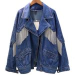Loose Chain Tassel Casual Denim Jacket