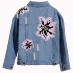 Beaded flower sequin patch denim jacket