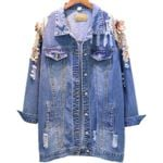 fashion loose embroidery beaded three-dimensional flowers  Denim Jackets