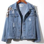 Beaded sequins butterfly hole denim jacket