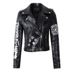 Faux Soft Leather Black PU Rivet Zipper Jackets