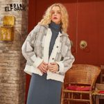 White Plaid Frill Patchwork Single Button Jacket
