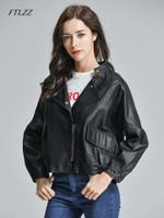 Faux Leather Batwing Sleeve Pocket Black Biker Jackets