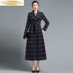 Long Plaid Woolen Elegant Slim Coats