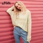 Multicolor Solid Minimalist Cut Out Casual Knit Pullover Sweater