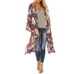 Long Sleeves Chiffon Print Sandy Kimono