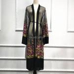 Sexy Abaya Muslim Floral Embroidery Chiffon Kimono